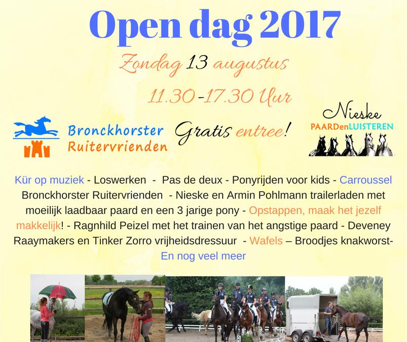 Wees welkom op onze Opendag ! PAARDenLUISTEREN en Bronckhorster Ruitervrienden
